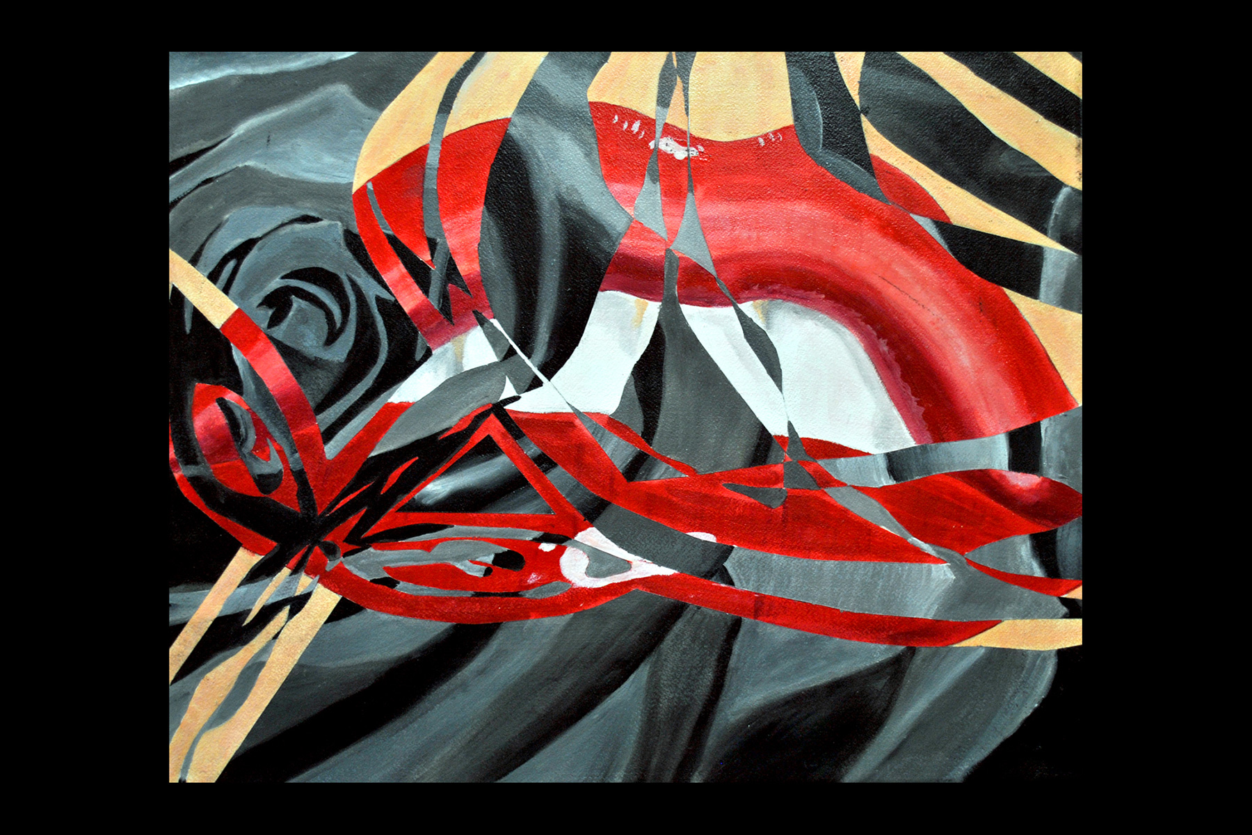 Abstract painting of red mouth