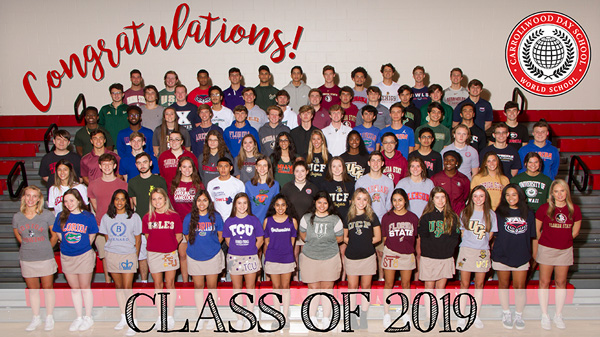 Class of 2019 in their college shirts