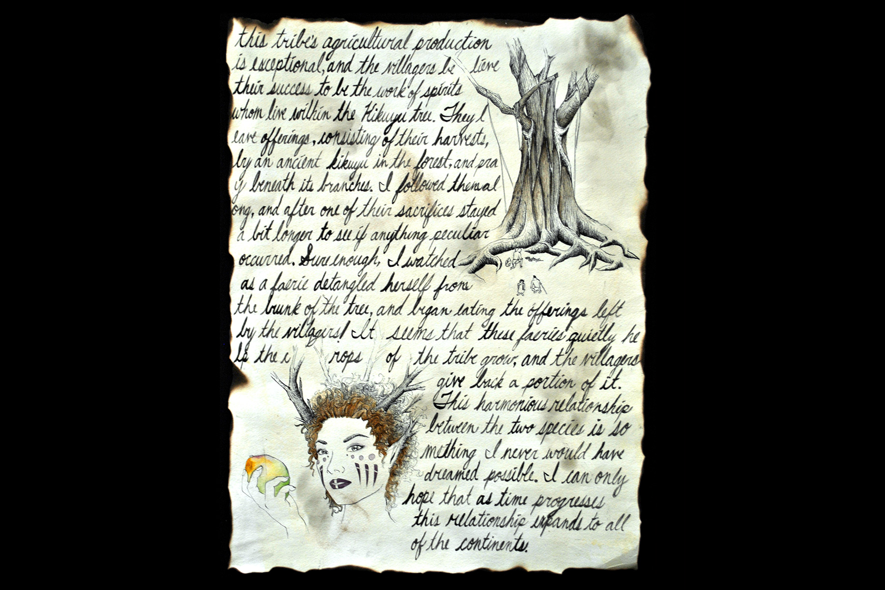Calligraphy and fairy in woods