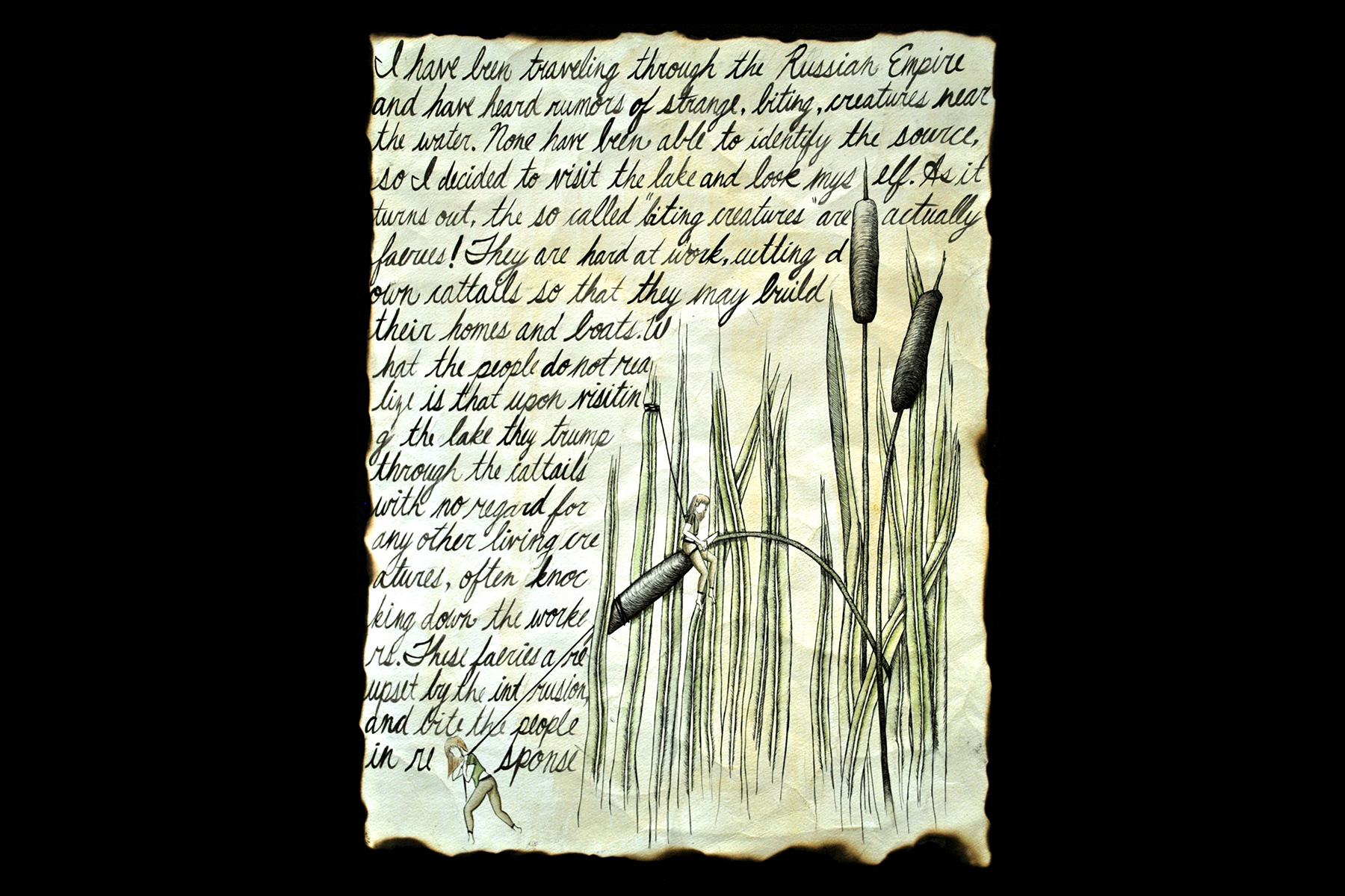 Pen and Ink calligraphy and fairies playing