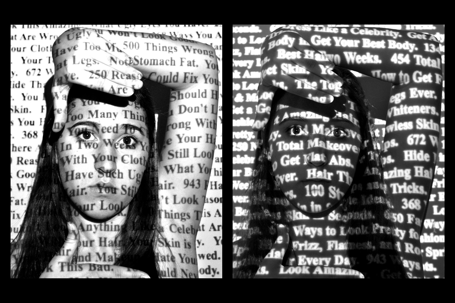 Black and white photo of girl with text superimposed