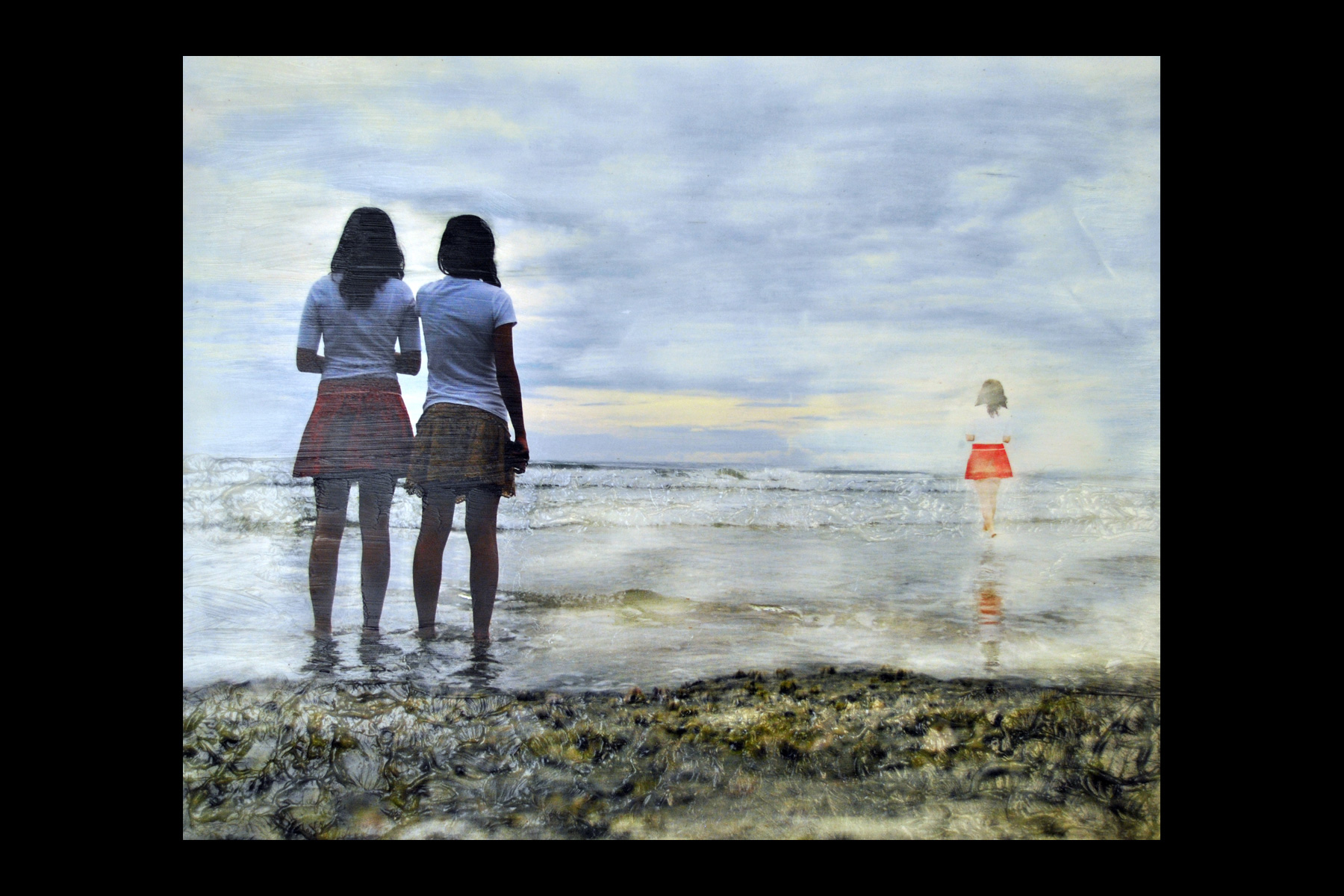 Two girls looking at a mirage