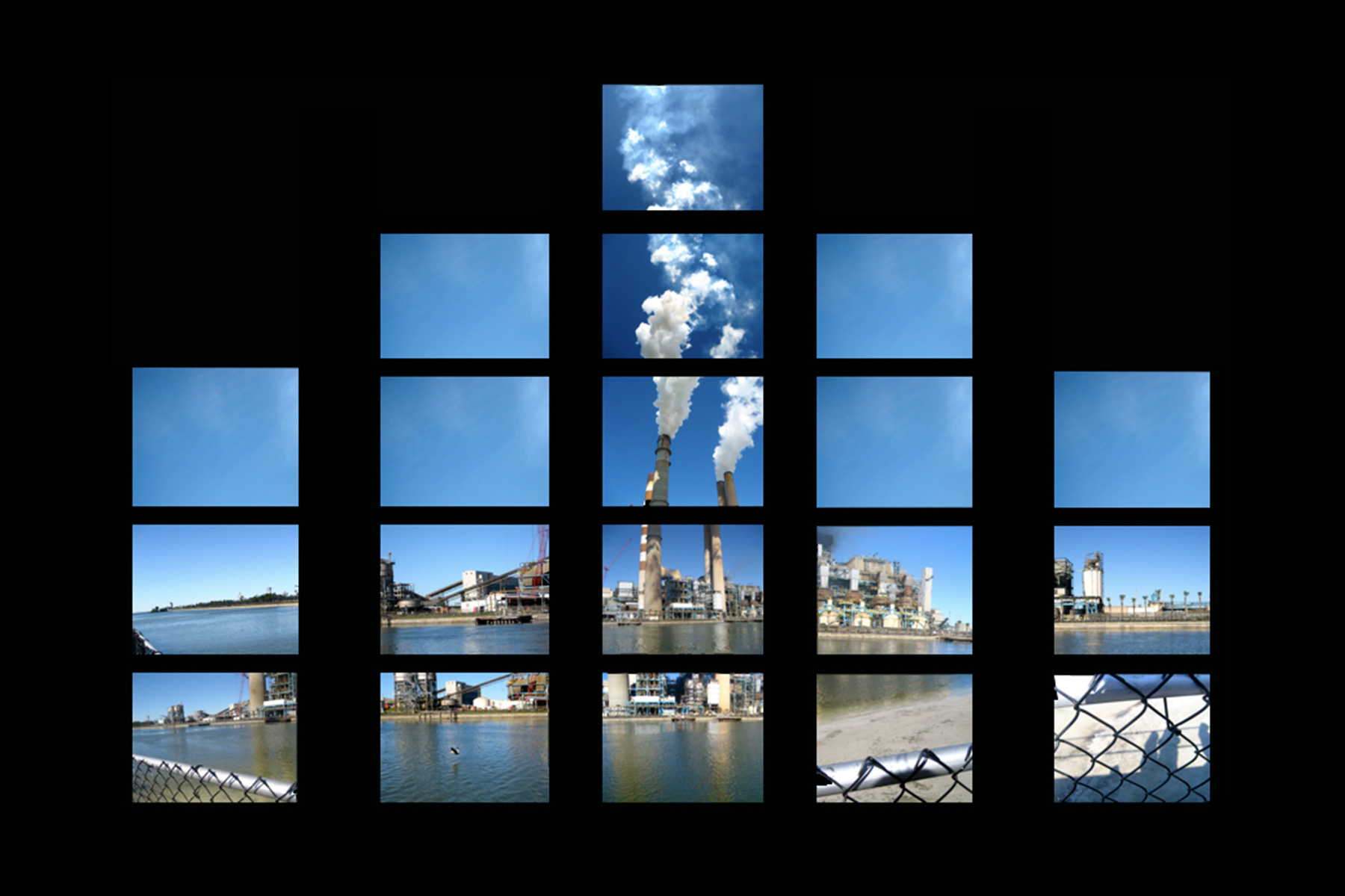 Photo collage of a phosphate plant