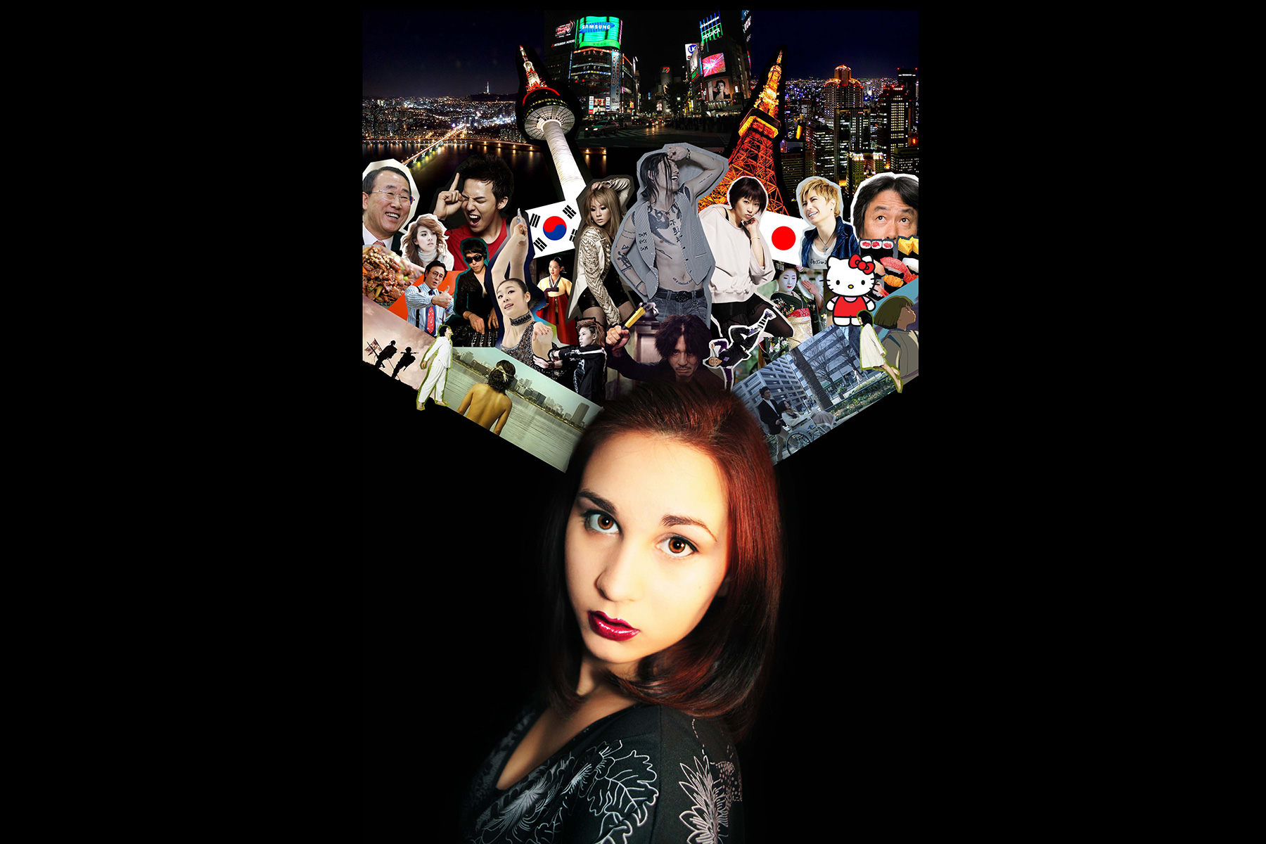Girl with collage of international symbols
